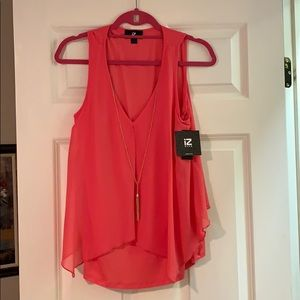 Sleeveless Top With Necklace Attached